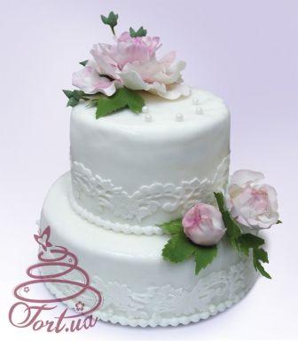 Свадебный торт с пионами. Европейские свадебные торты на заказ. | Европейские свадебные торты в Киеве. Изысканный свадебный торт на заказ. | TORT.UA