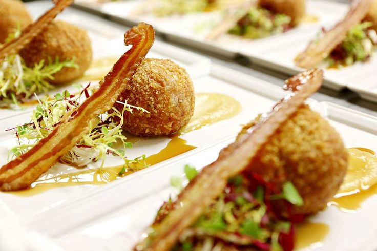 #weddingstarter #food a real crowd pleaser! Smoked bacon Scotch egg, apple puree and crisp pancetta #awesomefood