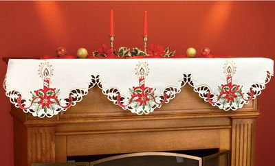 Embroidered Poinsettia Candles Mantel Scarf Poinsettias