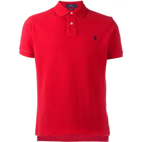 Polo Ralph Lauren logo embroidery polo shirt ($76) ❤ liked on Polyvore featuring men's fashion, men's clothing, men's shirts, men's polos, red, men's cotton polo shirts, polo ralph lauren mens shirts, mens red polo shirt, mens cotton shirts and mens short sleeve shirts
