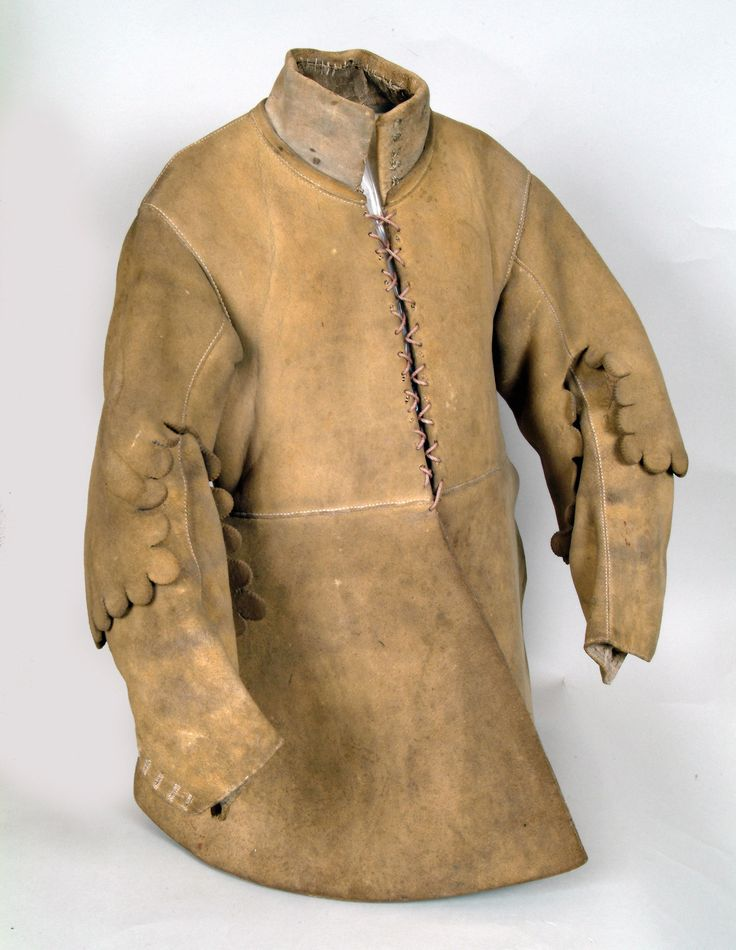 English leather buff coat, 17th century, a thick protective jacket that could be worn beneath armour. Major Thomas Sanders, a Parliamentarian officer of Sir John Gell's Regiment of Horse, wore this coat almost 400 years ago. It has thinner leather on the lower arm to allow the rider to wield a sword or pistol and to control his horse more effectively. National Army Museum, England.