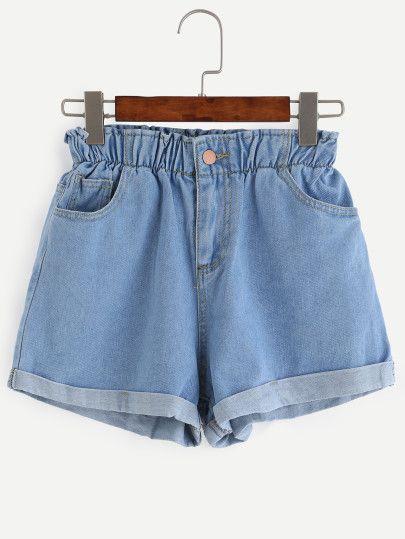 Pantaloncini Denim Con Orlo Cintola Elastica - Blu