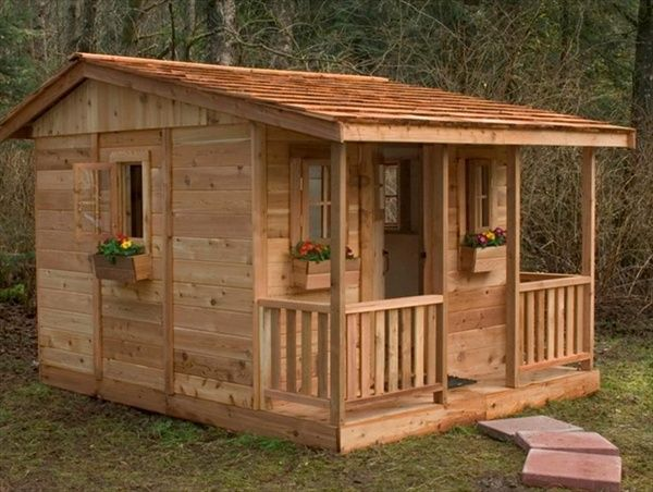 Simple wood playhouse plans woodworking projects plans for Wooden playhouse designs