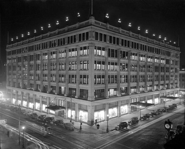 Hudson's Bay Company alight on the northeast corner of Georgia Street and Granville Street, 1936.