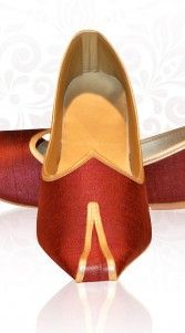 Classy red handmade wedding mojri intricate with raw silk fabric. Synthetic leather lining inside and a rubber sole. Heel height: 0.2 inches...