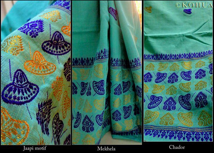 Aquamarine blue maasrise cotton handloom mekhela