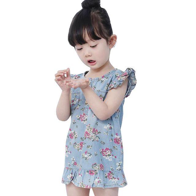 Vestidos da menina 2016 Verão Bonito Jean Para Meninas Vestido Da Cópia Da Flor jeans kids clothing infantil