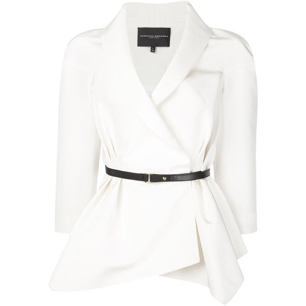 Carolina Herrera belted crepe blazer ($3,405) ❤ liked on Polyvore featuring outerwear, jackets, blazers, tops, white, blazer jacket, crepe jacket, carolina herrera, white blazer jacket and belted jacket