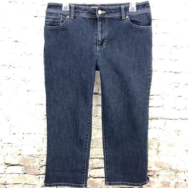 Chicos Womens Crop Jeans Dark Stretch Denim Size 1 (8) Mid Rise Capri Cropped #Chicos #CapriCropped