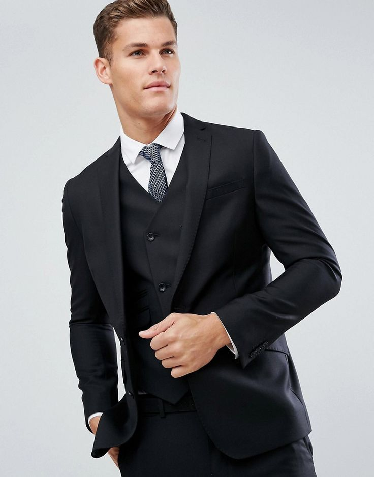 ASOS Slim Suit Jacket In Black 100% Wool - Black