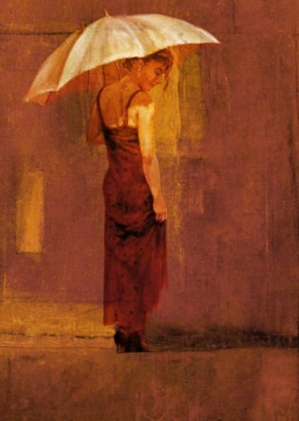 Olieverf schilderij vrouw met paraplu