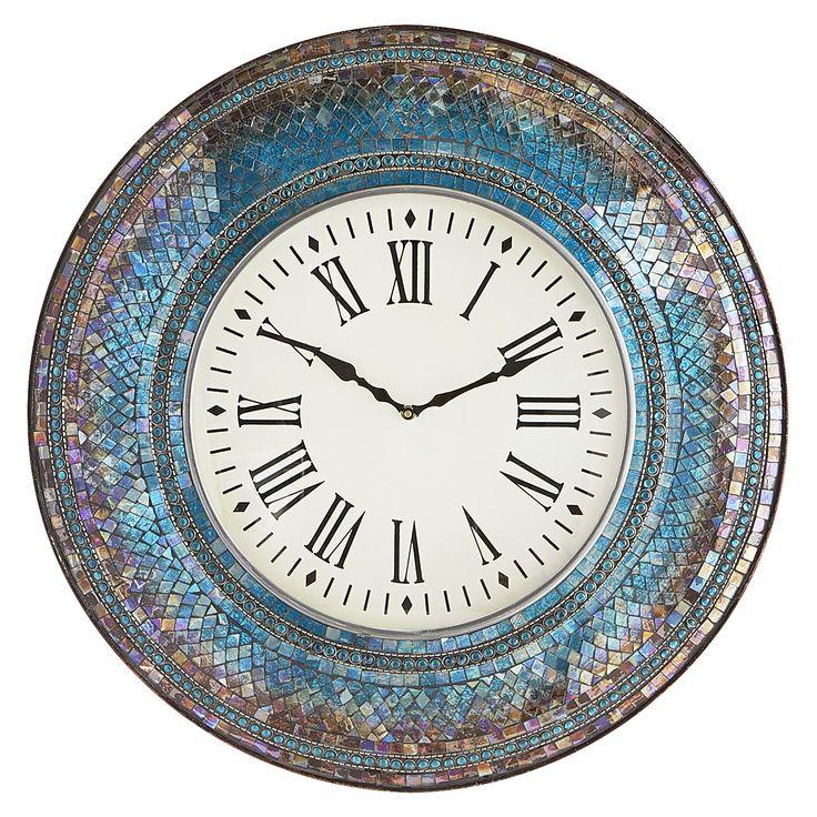midnight mosaic 24 wall clock clock decor mosaic wall on wall clocks id=71434