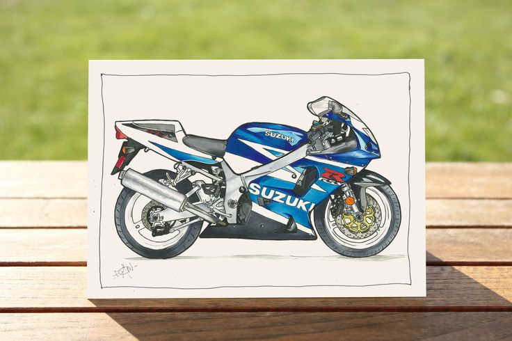 Motorcycle Gift Card Suzuki GSX-R 750 1990s Motorbike Gift Card by DailyBikers on Etsy