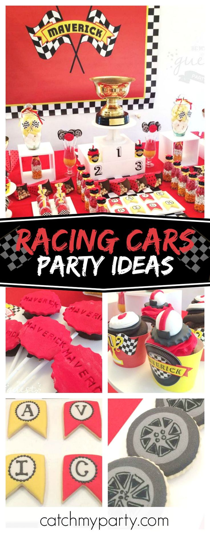 Check out this amazing Racing Car birthday party. The tire cookies are awesome!! See more party ideas and share yours at CatchMyParty.com