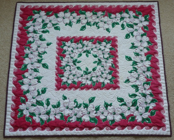 White Dogwood Vintage Tablecloth Custom Quilted Wall Art