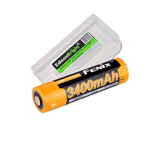 Fenix ARB-L18 3400mAh Protected 18650 Rechargeable Li-ion Battery with EdisonBright BBX3 Battery carry case.- Designed for TK75 TK22 TK35 PD35 PD32 TK15 TK11 ARE-C1 ARE-C2 and other High Drain Devices