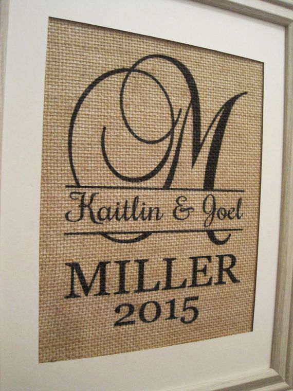 Burlap WeddingPersonalized Burlap MonogramBurlap by SunBeamSigns, $21.00