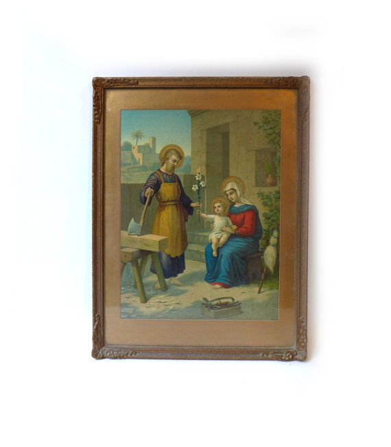 Antique 1900's lithograph in gilt frame feast of the by evaelena