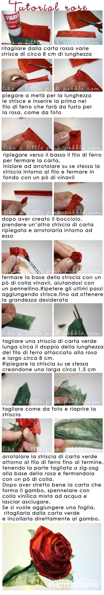 tutorial-rose-of-paper DIY ... in Italian, and some of the specifics are hard to see, but I'm pinning it because I love the final result... http://www.likealittlepinkpebble.com/2009/03/18/tutorial-rose-di-carta/#
