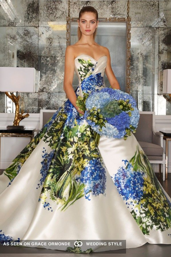 romona keveza strapless wedding gown ballgown with blue floral print fall 2016 collection