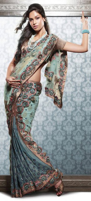 Sea Green Shimmer Georgette Lehenga Style Saree