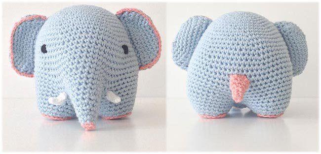 hæklet elefant med pynt