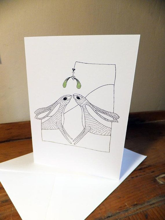 Christmas Hares Mistletoe Christmas Card from an by EmmaGilesArt