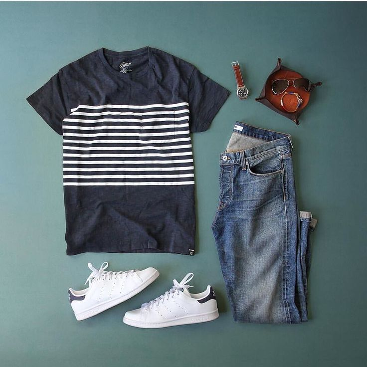 Outfit grid - Striped T-shirt & jeans