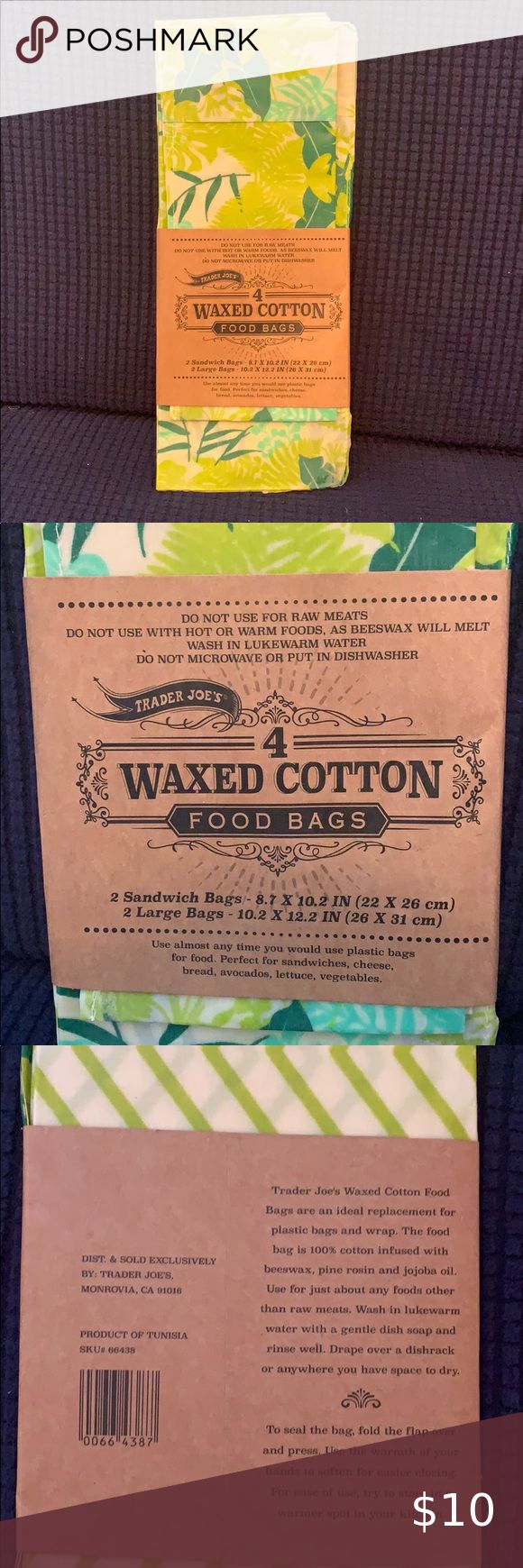Trader Joe's 4 waxed cotton food bags set of 4 in 2020