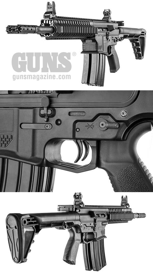 """EXCLUSIVE: Double-Barrel Deliver   By Dave Workman   When somebody says the Gilboa Snake rifle speaks with a """"forked tongue,"""" it's not an insult, but an accurate description of what happens when the dual triggers are pressed on this double-barrel 5.56mm NATO semi-auto rifle.   © GUNS Magazine 2018"""