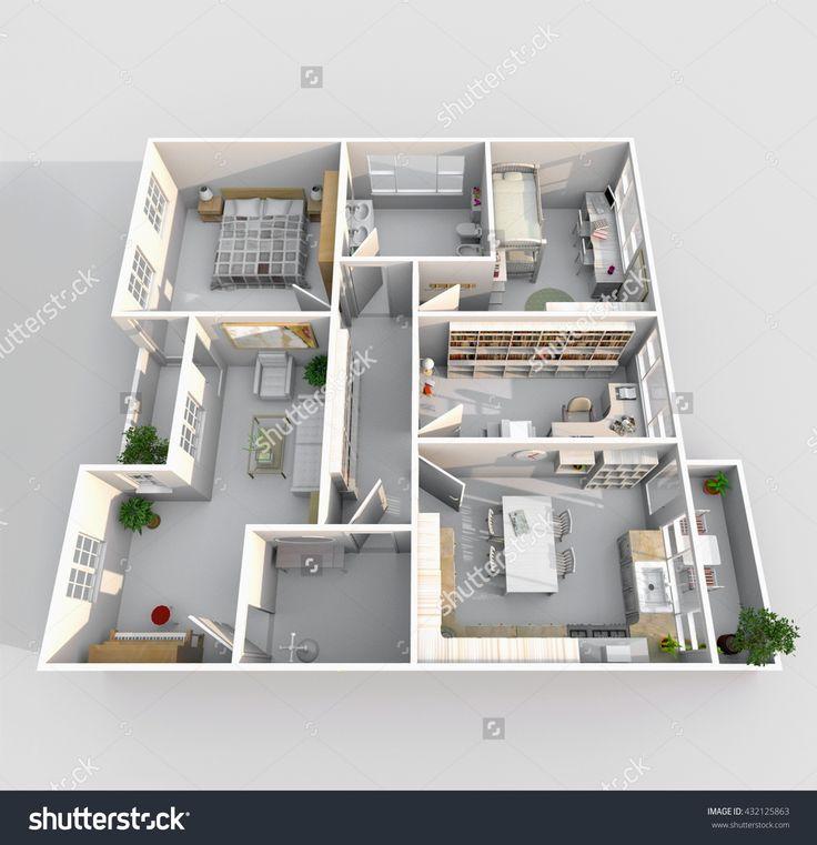 3d interior rendering perspective view of big furnished home apartment with balcony: room, bathroom, bedroom, kitchen, living-room, hall, entrance, door, window
