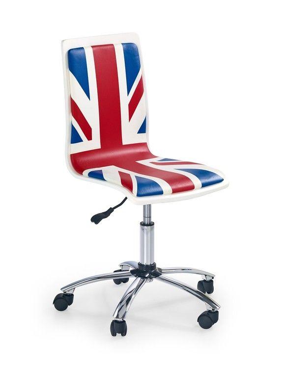 Bureaustoel Flag is een moderne bureaustoel waarbij de zitting is gemaakt van kunstleer voorzien van een Engelse vlag, de achterkant van deze bureaustoel is uitgevoerd in Hoogglans wit. De poten zijn gemaakt van verchroomd staal gecombineerd met zwart kunststof, aan de onderzijde is deze bureaustoel voorzien van kleine kunststof wieltjes.