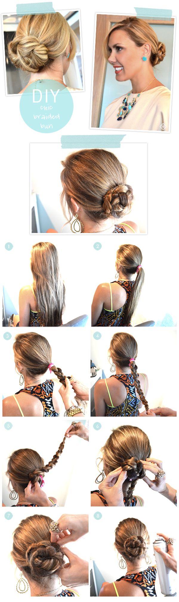Chic Braided Bun #hair #tutorial: Bun Hair, Chic Braids, Braided Buns, Hairstyles, Buns Hair Tutorials, Long Hair, Longhair, Hair Style, Braids Buns