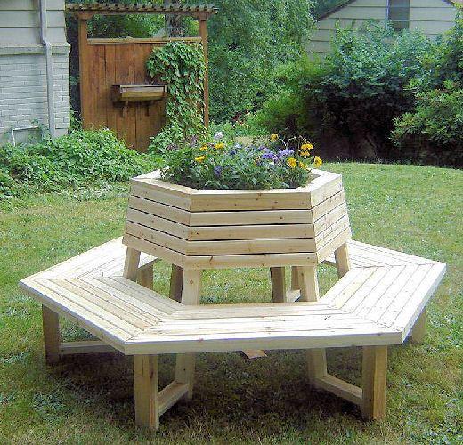 Hexagonbench Cedar Wood Planter Cluster Seating Bench
