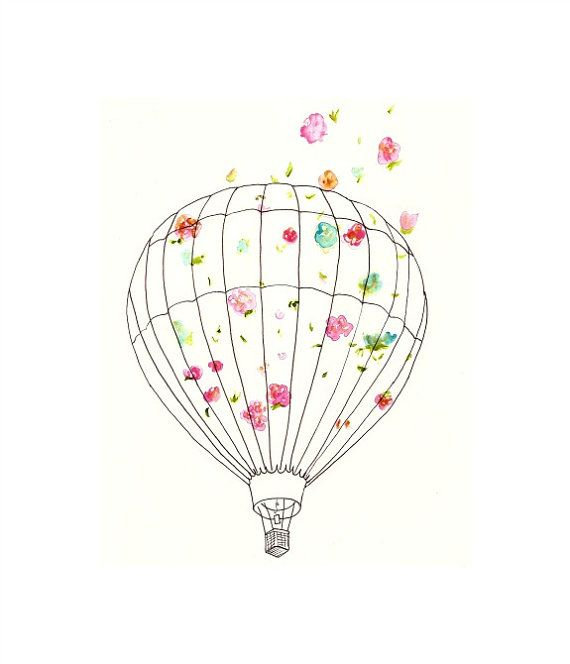 Hot Air Balloon Art Print for Nursery Home by bonjourfrenchie, $18.00