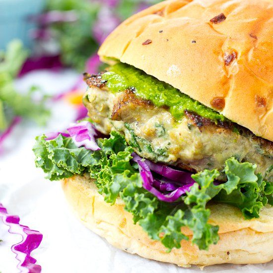 Portabello Mushroom and Kale Turkey Burgers with Zesty Cabbage Kale Slaw