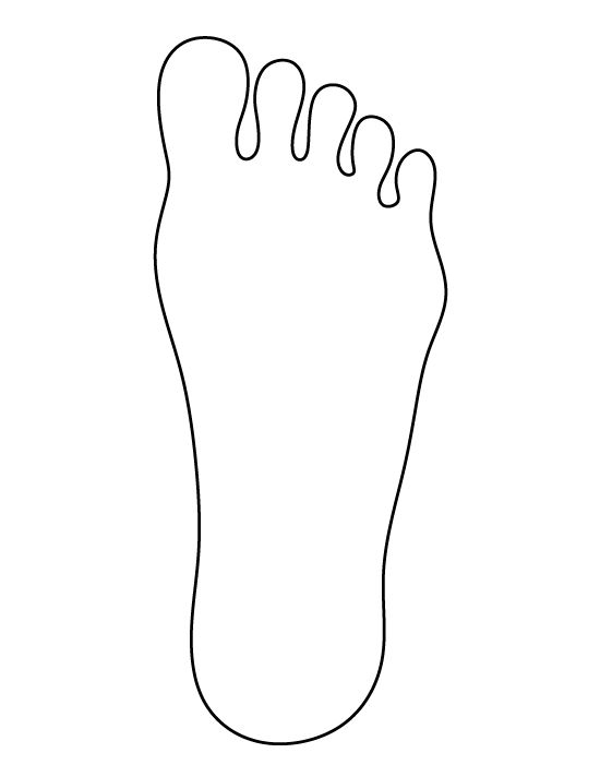 Foot pattern. Use the printable outline for crafts, creating stencils, scrapbooking, and more. Free PDF template to download and print at http://patternuniverse.com/download/foot-pattern/