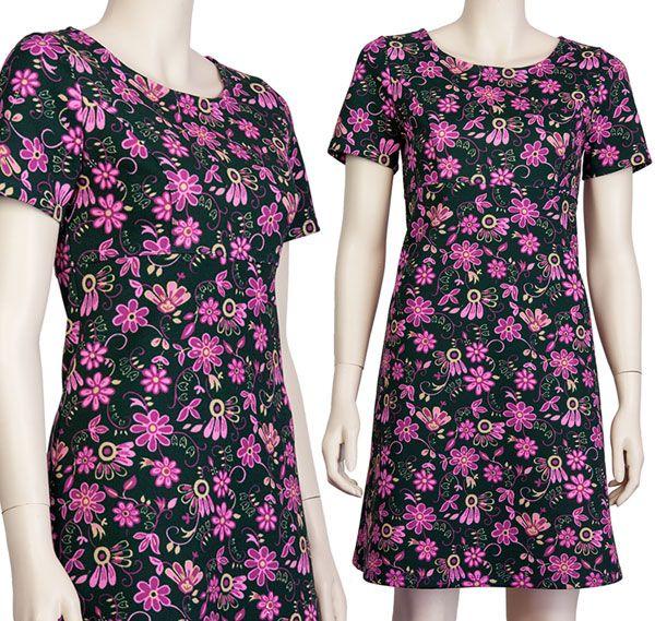 Jurkje Emma, hoge taille, zwarte vintage stof met paarse bloemen.  Pop Rok