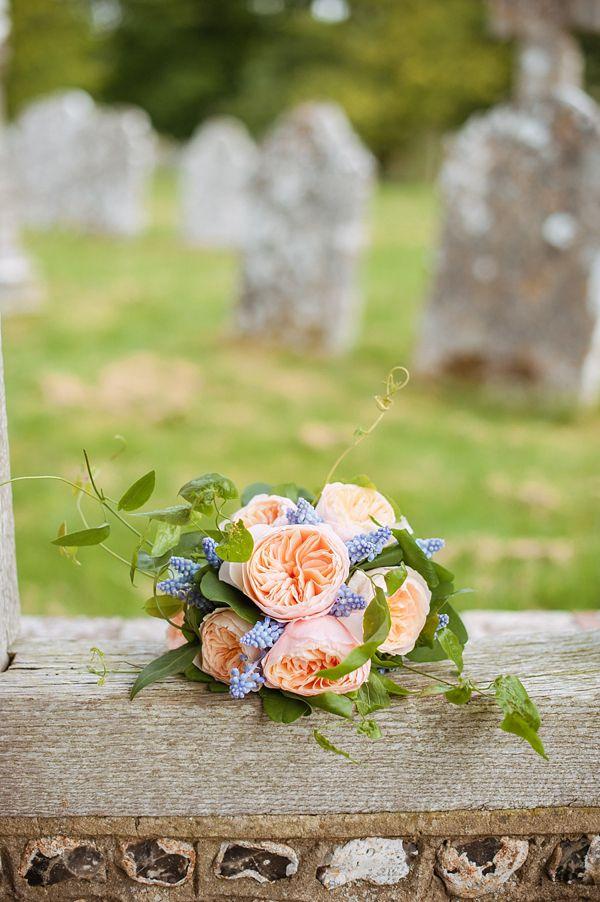 Peach and pale blue wedding bouquet. Photography by www.angelawardbrown.com