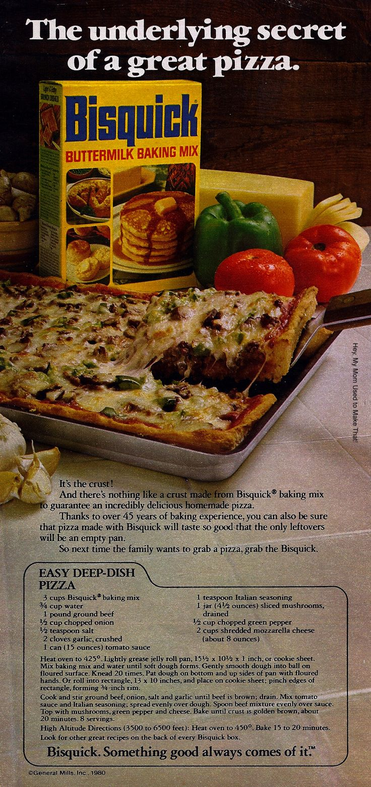 Bisquick deep dish pizza--my dad used to make this back in the 50s. Great comfort food.