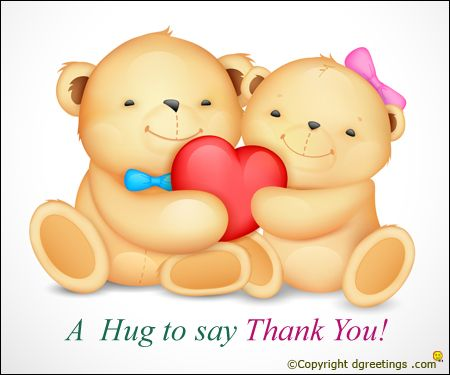 what better way to say thank you than with a hug warm wishes