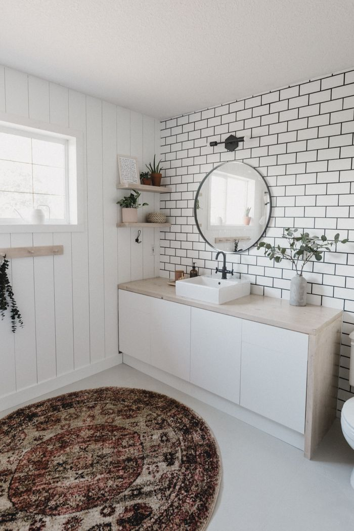 A New Bathroom Accent Wall How To Hang A Mirror On Tile Love Create Celebrate Bathroom Accent Wall Tile Accent Wall Bathroom Accents