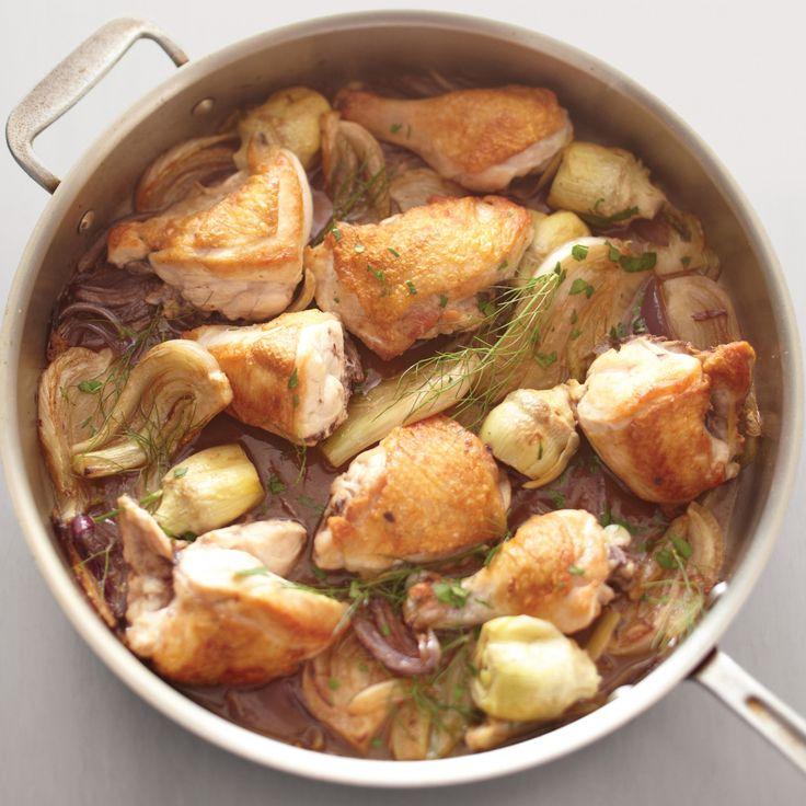 Chicken, fennel, artichoke fricasee one pot