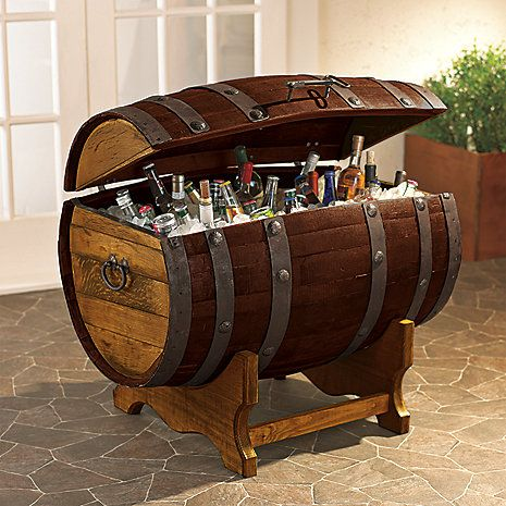you know, for when we have a wet bar in the basement of our awesome house?   Reclaimed Tequilla Barrel Ice Chest and Stand at Wine Enthusiast - $595.00: