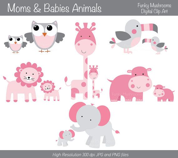 Digital Clipart Moms And Babies Animals Pink by funkymushrooms, €2.60