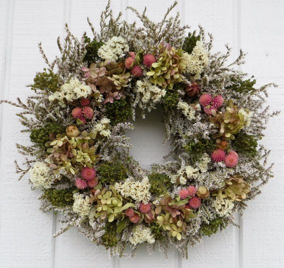 Spring Dried Flower Wreath, German Statice Wreath, Green and Pink Wreath, Dried…