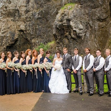 Formal Navy and grey Bridal Party. Interesting way to differentiate mat from the rest