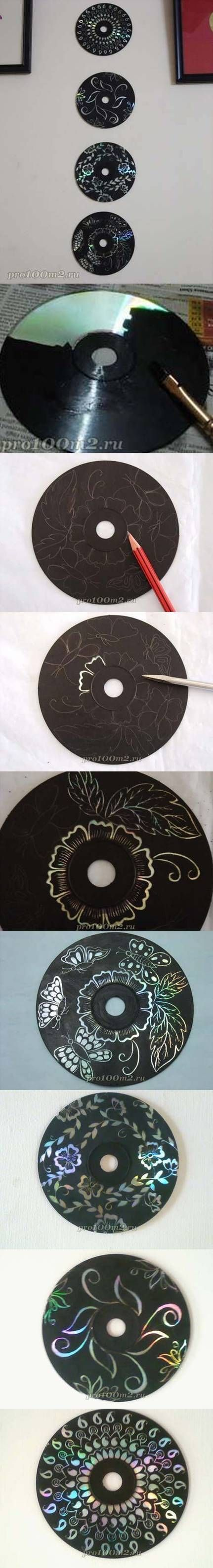 Recycled CDs - Paint with black acrylic paint and then scratch off design