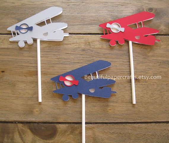 Vintage Airplane Cupcake Toppers, Airplane Baby Shower, Airplane Birthday, Gray, Navy, Red Set of 12