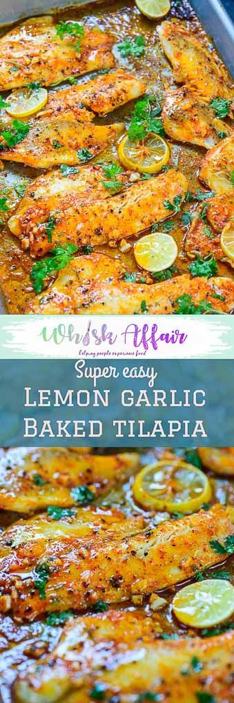 This Spicy Lemon Garlic Baked Tilapia takes all of 5 minute of preparation time before you pop it in the oven. Pair it with sautéed vegetables and steamed rice for a hearty meal. Here is how to make it. #Baked #Healthy #Tilapia #Fish via @WhiskAffair